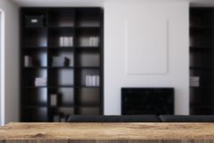 White living room, fireplace and bookcases blur Stock Photography