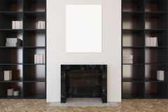 White living room, fireplace and bookcases close up Stock Photos