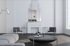 White living room, fireplace. White brick living room interior with a wooden floor, large windows, a fireplace and a sofa near a round coffee table. 3d rendering Stock Photo