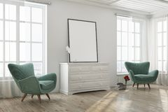 White living room, green armchairs, poster side. White living room interior with a wooden floor, tall windows and two green armchairs near a dresser with a Royalty Free Stock Photos