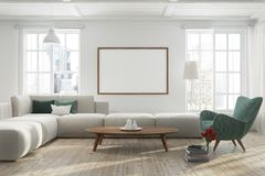 White living room with a horizontal poster, green royalty free illustration