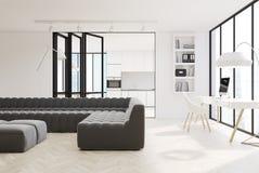 White living room interior, black sofas Royalty Free Stock Photos