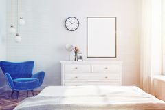 White living room interior, blue armchair toned. White living room interior with a blue armchair and a framed vertical poster hanging above a set of drawers. 3d Stock Image