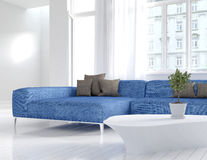 White living room interior with blue couch Royalty Free Stock Images