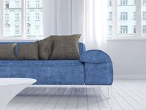 White living room interior with blue couch Stock Photos