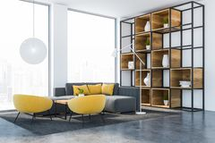 White living room interior with bookcase royalty free stock image
