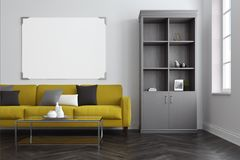 White living room, yellow sofa, bookcase. White living room interior with a concrete floor, a long green sofa with colored cushions on it and a coffee table. A Royalty Free Stock Photo