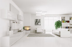 White living room interior 3d Royalty Free Stock Photos