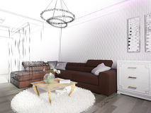 White living room interior Stock Image