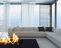 White living room interior with fireplace Royalty Free Stock Photography