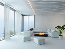 White living room interior with fireplace Stock Image