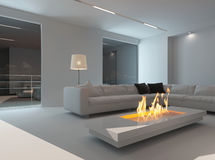 White living room interior with fireplace at night Royalty Free Stock Photography