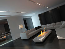 White living room interior with fireplace at night Stock Image