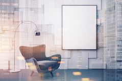 White living room, gray armchair, poster toned. White living room interior with a gray armchair with a framed vertical poster hanging above it. 3d rendering mock Stock Photos