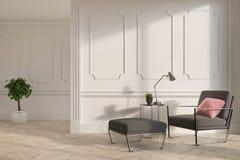 White living room interior, gray armchair stock illustration