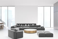 White living room interior, gray sofas stock illustration