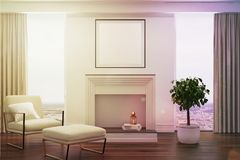 White living room, white armchair, fireplace toned Stock Photo