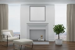 White living room, white armchair, fireplace Royalty Free Stock Photo