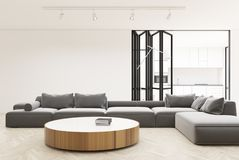 White living room interior, round table Royalty Free Stock Images