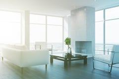 White living room interior toned Stock Photo