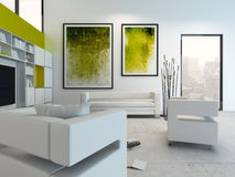White living room interior with vibrant green decoration Royalty Free Stock Images