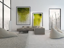 White living room interior with vibrant green decoration Stock Images