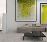 White living room interior with vibrant green decoration Stock Photo