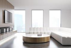 White living room interior, white sofa, TV set Stock Photography