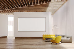 White living room interior, whiteboard Royalty Free Stock Image