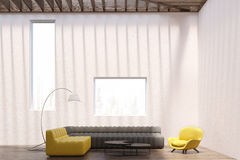White living room interior, windows Stock Image