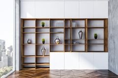 White living room interior, wooden bookcase stock illustration
