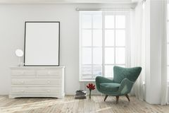 White living room with a green armchair, poster. White living room interior with a wooden floor, a tall window and a green armchair near a dresser with a poster Stock Image
