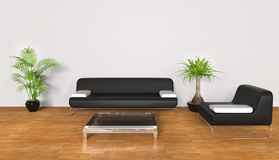 White Living Room. Modern lounge room - black and white furniture Stock Photography