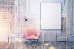 White living room, pink armchair, poster toned. White living room interior with a pink armchair with a framed vertical poster hanging above it. 3d rendering mock Stock Images