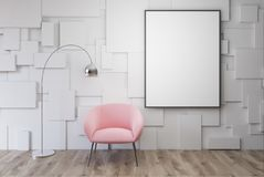 White living room, pink armchair, poster. White living room interior with a pink armchair with a framed vertical poster hanging above it. 3d rendering mock up Royalty Free Stock Images