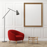 White living room, red armchair, poster Stock Photography