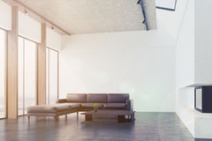 White living room with a sofa, side toned Stock Photos