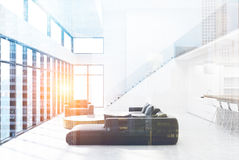 White living room with stairs, double Stock Photo