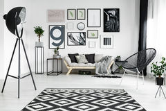 White living room. Stylish white living room with black accessories and plants Stock Photography