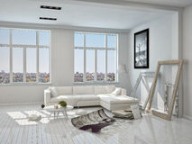 White Living Room with Unfinished Decorations Royalty Free Stock Photo