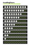 White loading bars. Loading bars with white circles on the black background Royalty Free Stock Image