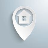 White Location Marker House 4 Window. Infographic with white location marker on the grey background royalty free illustration