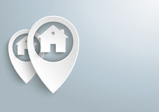 2 White Location Markers House. Infographic with white location marker on the gray background Stock Photos