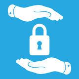 White lock icon in flat hands isolated on white background- vect Royalty Free Stock Photo