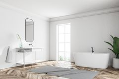 White loft bathroom corner, tub and sink. Corner of a white wall loft bathroom with a wooden floor. An angular white tub is standing near the window. A potted vector illustration