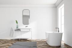 White loft bathroom interior, sink tub side view. Side view of a white wall loft bathroom with a wooden floor. An angular white tub is standing near the window vector illustration