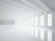 White loft interior with big windows Stock Photo