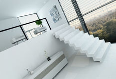 White loft interior with floor to ceiling window and stairs Stock Image