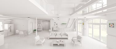 White loft interior panorama 3d rendering. Interior design of white loft apartment, living room, hall, kitchen, staircase, panorama 3d rendering Royalty Free Stock Photos
