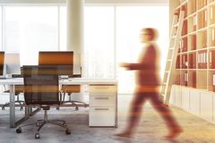 White loft office with column, man stock images